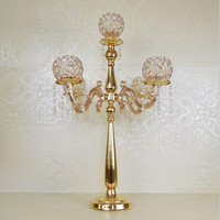 10PCS Metal Gold/Silver Candle Holders 5 Arms With Crystals Stand Pillar Candlestick For Wedding Table Centerpieces Decoration