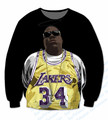 Real USA Size Custom made Notorious BIG Lakers 3D Sublimation print Crewneck Sweatshirts plus size
