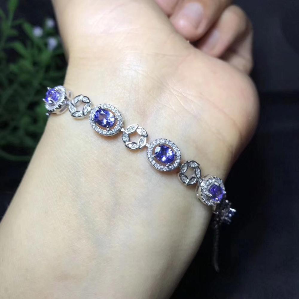 Bracelet Tanzanite naturel, argent Sterling 925, fabrication artisanale, bijoux bleus. Se concentrer sur la nature pure