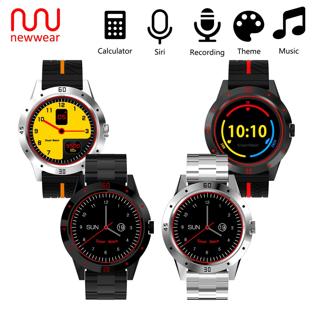 NEWWEAR N6 Smart Watch Sedentary Remind Wristband Sleep Monitor Pedometer Remote Music Support WhatsApp Facebook For Android IOS bluetooth 4 0 smart watch mtk2502a pedometer sleep monitor remote camera music call record wristwatch for ios android smartphone