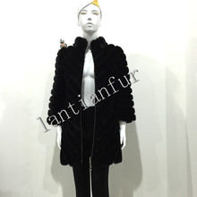 AAA imported mink fur coat mink fur tail fur jacket long style