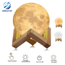 Rechargeable 3D Print Moon Lamp 2 Color Change Touch Switch Bedroom Bookcase Night Light Home Decor Creative Christmas Gift