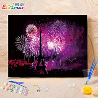 Framless Wall Art Pictures 40x50cm Night Fireworks Picture Paint By Numbers DIY Set Handwork Home Decor