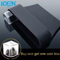LOEN 1PCS Leather Auto Seat Gap Organizer Storage Box Car Console Side Pocket Seat Crevice Storage