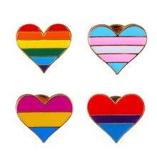 1pc LGBT Pride Rainbow Flag Metal Badge Support Symbol Pin Icons Heart Brooch Unisex Collar Pin Rainbow Heart Enamel Pins Brooch