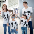 Famli 1pc Father Son Cartoon Shirts Spring Autumn Family Mom Baby Girls Matching Fashion Long Sleeve Character T-Shirt Outfits
