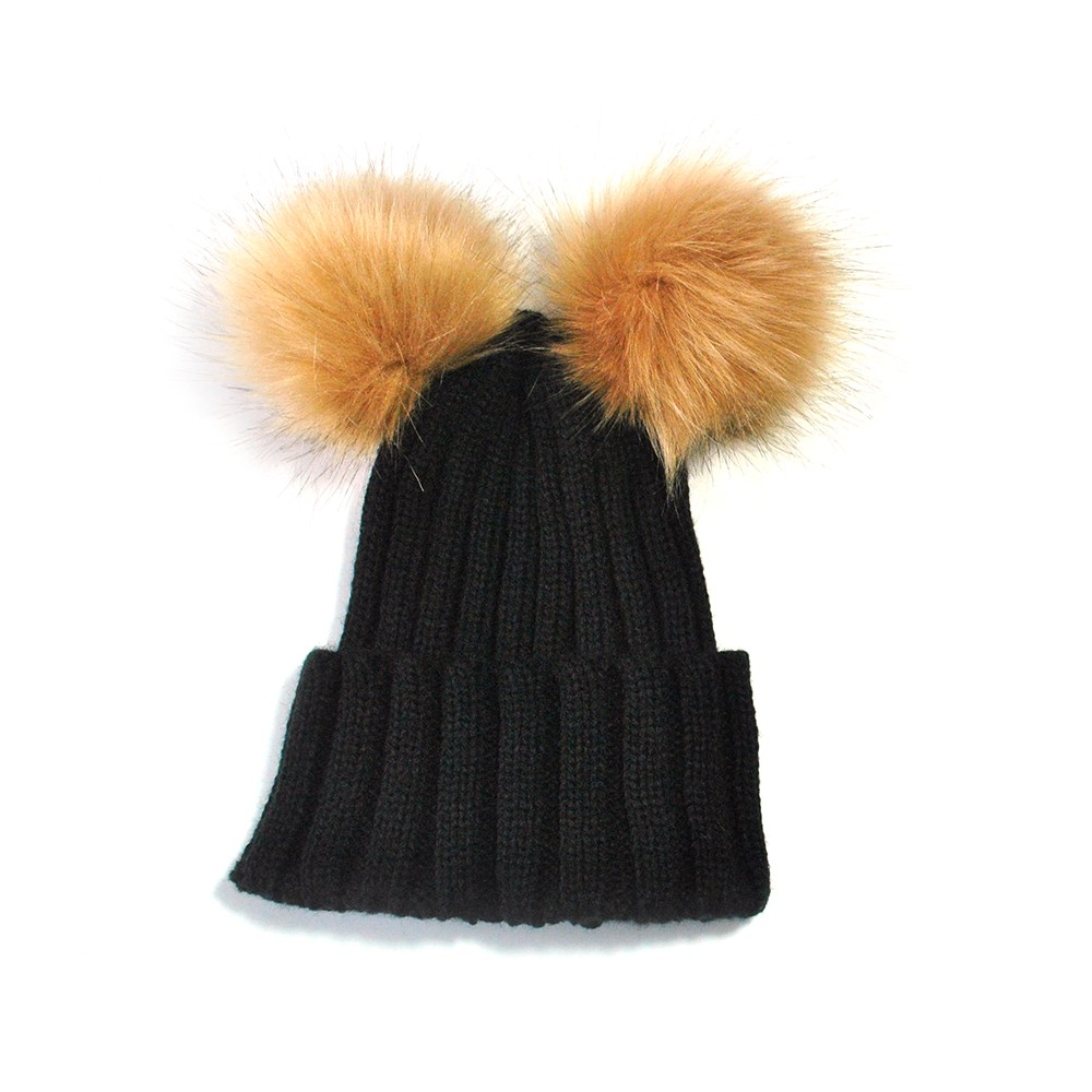 Fashion Double Ball Pompom Hat Child Toddler Winter Baby Hat Beanie Baby Cap Wool Knitted Fur Bonnet Enfant