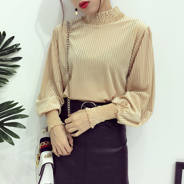 2016 spring Korea fashion women stand collar lantern sleeve thin long sleeve solid color pullover corduroy T-shirts MLS003