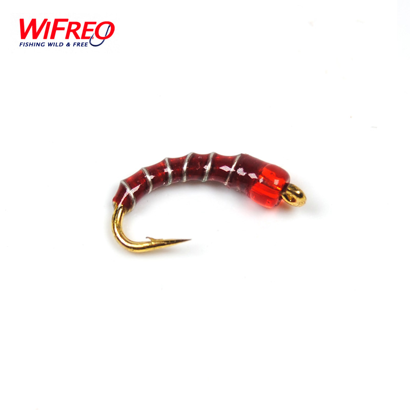 Wifreo #16 Golden Hook Nymph Flies Bead Head Buzzers Fly Fishing Lures 12pcs 14 red tail bead head buzzer nymph fly for trout fishing lures