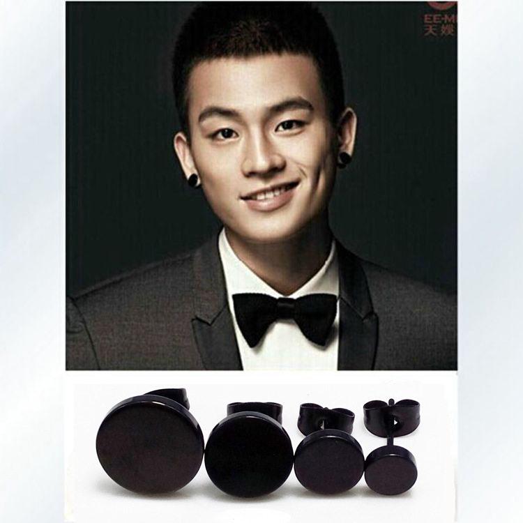 Hot Fashion Men Punk Black Barbell Ear 6 8 10 12mm Studs