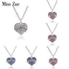 d6b9c594f734 Miss Zoe forma de corazón completo hija cristalina tía abuela enfermera  profesor familia de los collares joyería collar regalo p.
