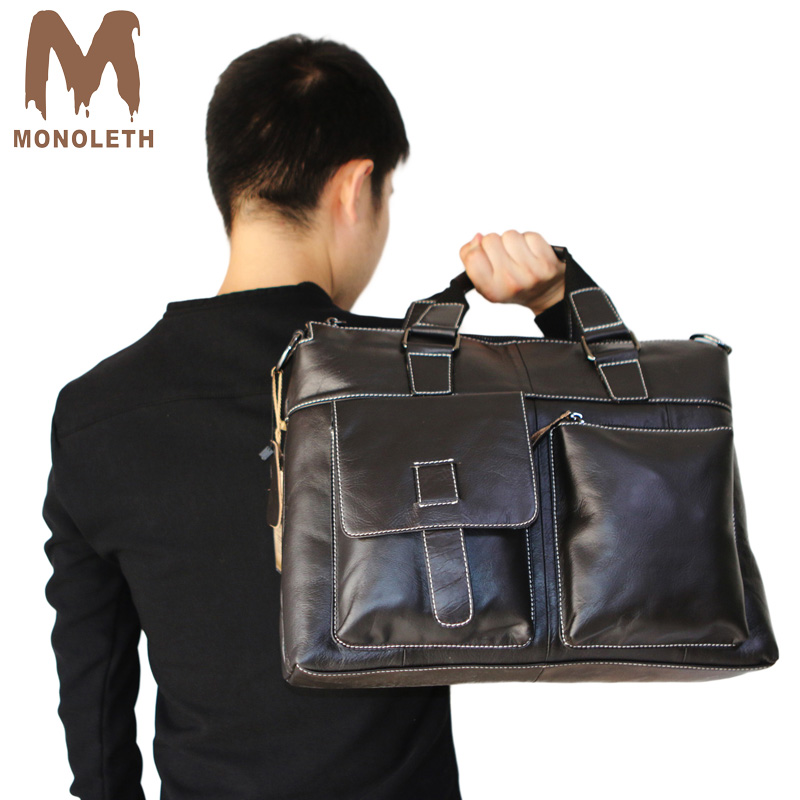 MONOLETH Genuine Leather Men Briefcase Messenger Laptop Bag Men Briefcase Business Travel Casual Shoulder Handbags padieoe men s genuine leather briefcase famous brand business cowhide leather men messenger bag casual handbags shoulder bags