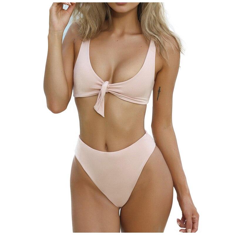 c26b7212b3 2018 Sexy Solid Biquinis Padded Tied Bowknot High Waist Bikini Set Women  Swimsuit Beach Swimwear Bathing Suit