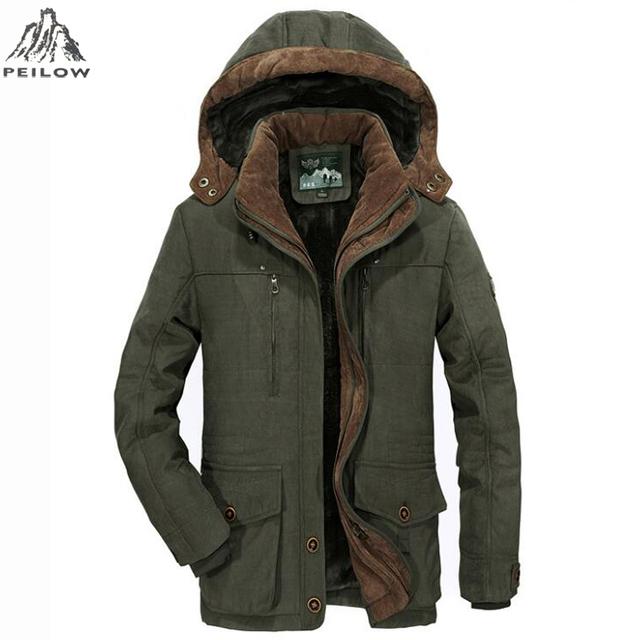 PEILOW plus size L~5XL 6XL Men Winter fleece Warm Thick Jacket Men Outerwear Windproof Casual Coat with Hooded Mens Parkas