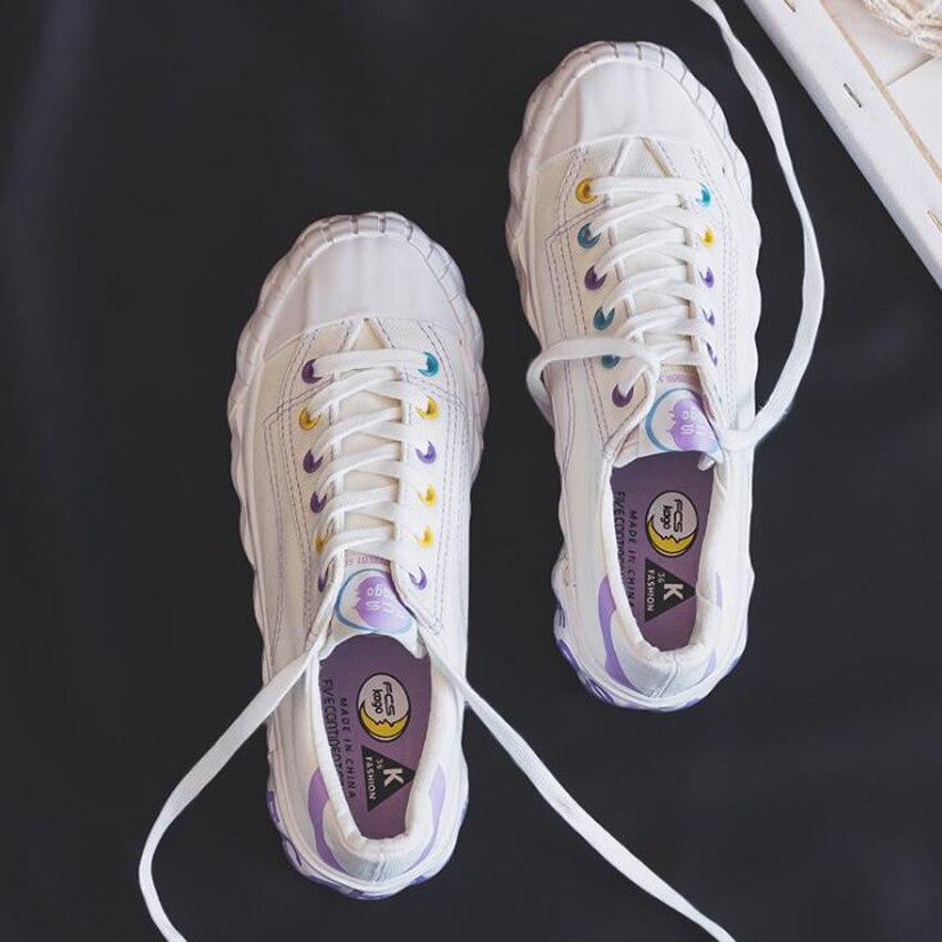 100% QualitäT Mode Mischfarben Plattform Turnschuhe Frauen Lace Up Atmungsaktive Damen Weiß Vulkanisieren Schuhe Casual Leinwand Schuhe Im In- Und Ausland FüR Exquisite Verarbeitung, Gekonntes Stricken Und Elegantes Design BerüHmt Zu Sein