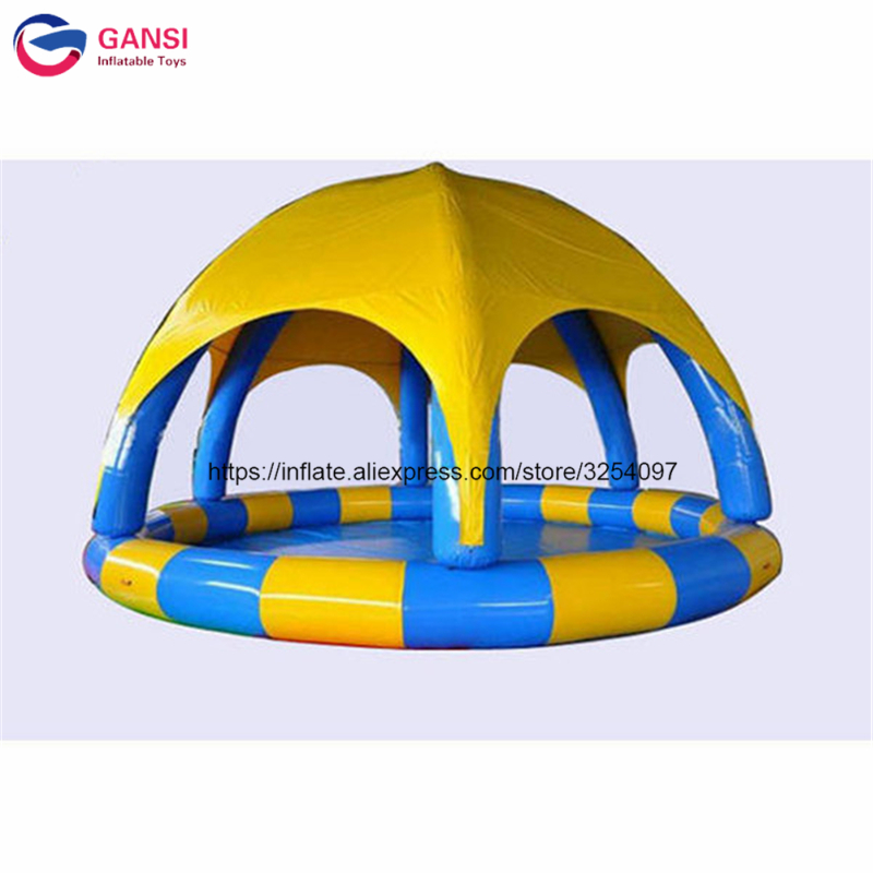Tente gonflable ronde de couverture de piscine de l'eau de 5*5*0.65 m, tente gonflable de piscine de bâche de PVC avec la couleur adaptée aux besoins du client
