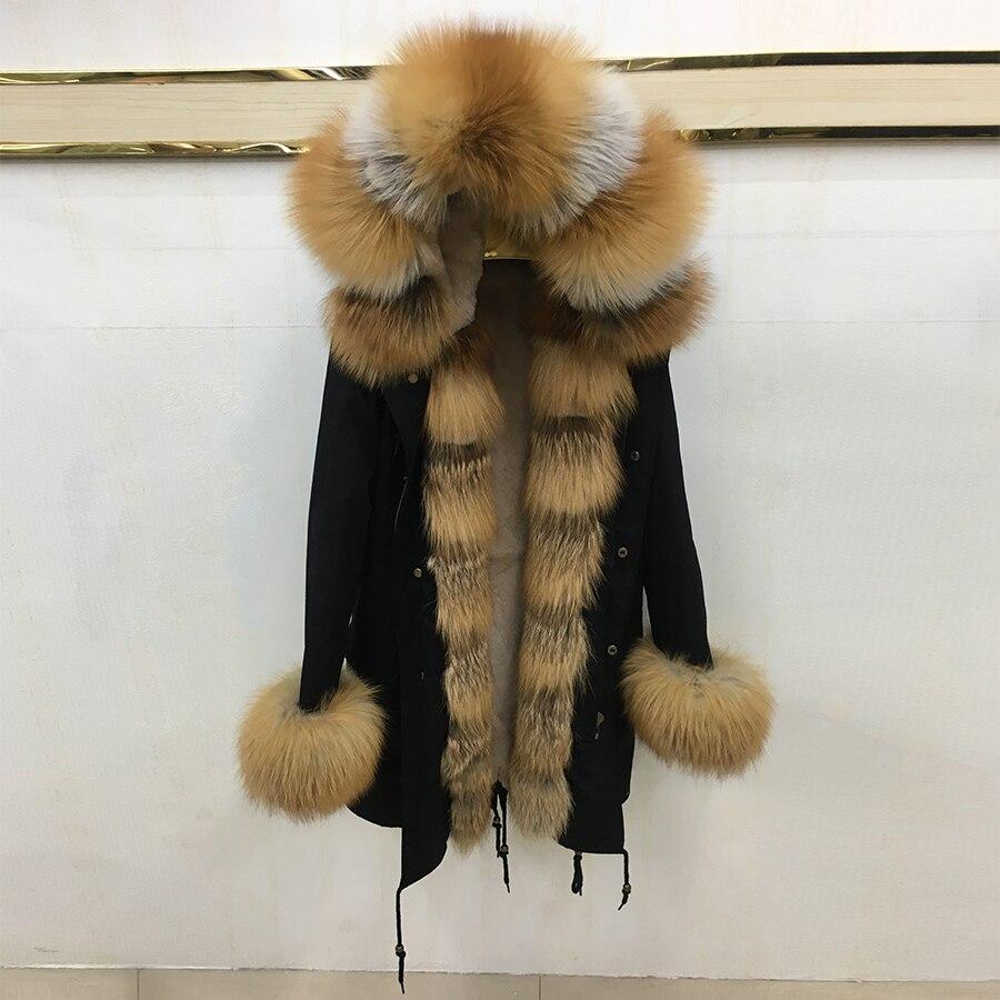 Réel de fourrure parkas rouge renard de fourrure parkas épais chaud outwear 2018 nouveau renard col de fourrure parkas de fourrure de lapin liling 90 cm