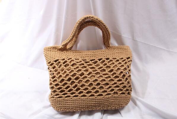 Cotton Handmade Straw Woven Bag Fashion Leisure Beach Hollow Out Shoulder Storage Totes Braided Hand Bag Handbag For Women Bags