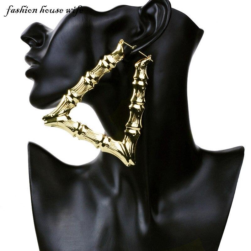 Fashion House Wife Fashion Large Basketball Wives Hoop Earring Geometric Triangle Bamboo Big Earrings For Women Jewelry LE0049