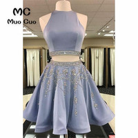 Vintage 2018 Graduation Homecoming Dresses with Crystals Beaded Zipper Ball Gown Short Evening Dress Cocktail Party Dress Short