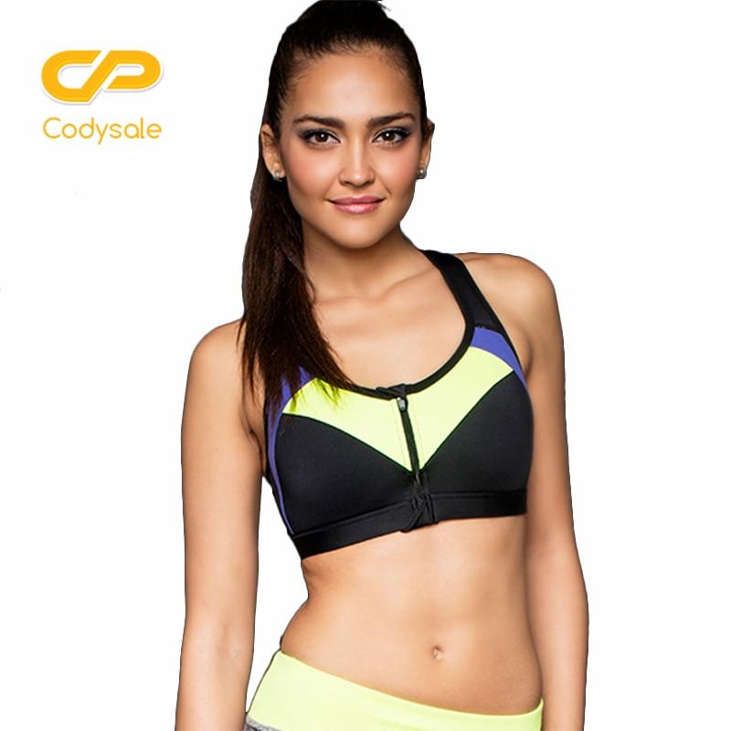 Codysale Women Bras Wire free Shockproof Fitness Bras Zipper Workout Exercise Cloth Underwear Wholesale Sleeveless Crop Top Tee