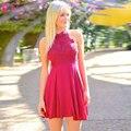 Fuchsia Halter Homecoming Dress 2016 Sweety Prom Dress short homecoming dresses vestido de formatura curto modest dresses Z272