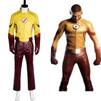 Nueva Temporada de Young Justice 2 Kid Flash Equipo Original 100% traje de Cosplay Para la Fiesta de Halloween Traje de Pantalones Guantes Cinturón Máscara Top