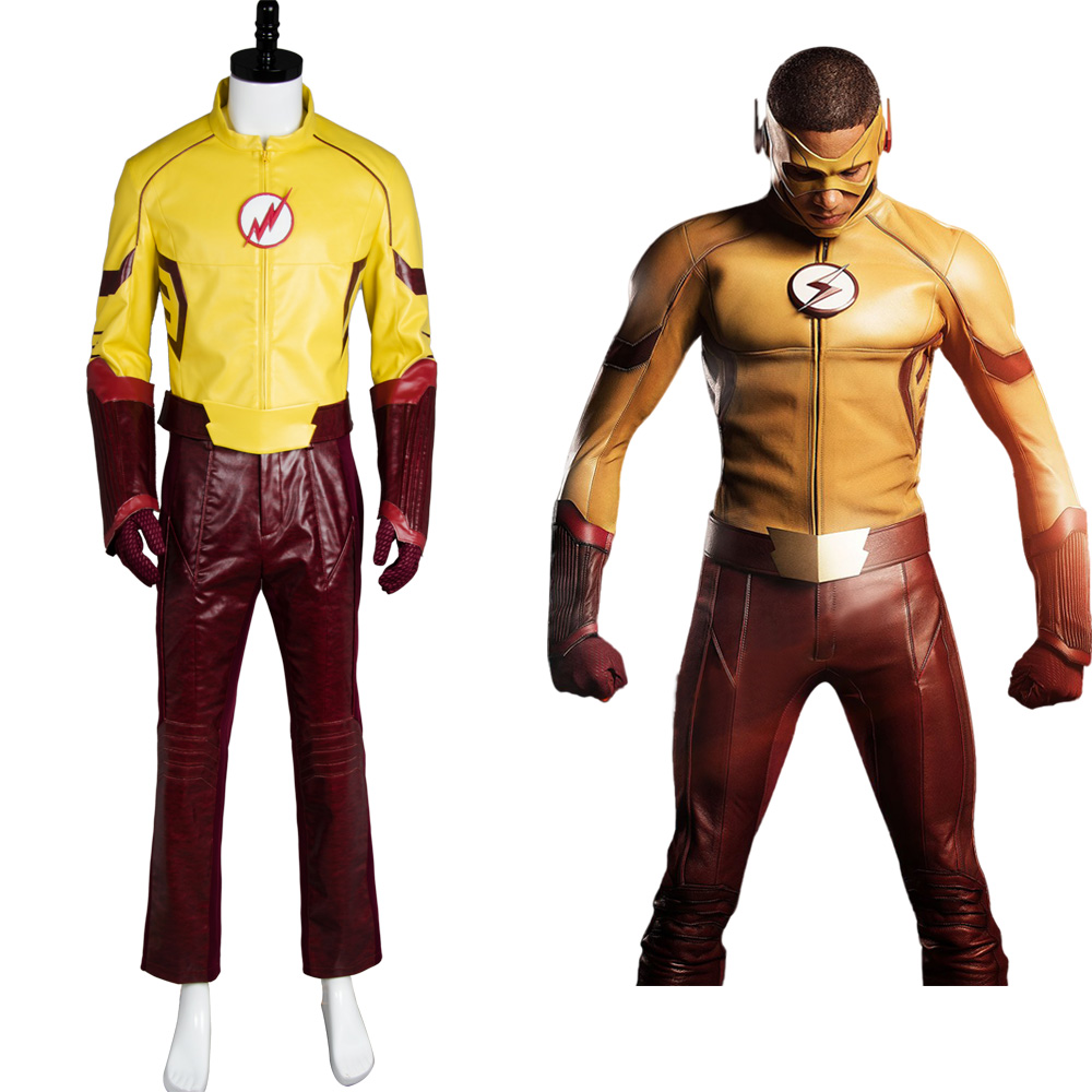 Young Justice Season 2 Kid Flash Outfit Original 100% Cosplay Costume For Halloween Party Suit Belt Gloves Mask Pants Top Sets ...