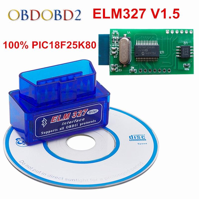 100% Hardware V1.5 Super MINI ELM327 PIC18F25K80 Multi-Langugae 13 Tipi OLMO 327 Bluetooth OBDII CAN-BUS Per Android Torque/PC