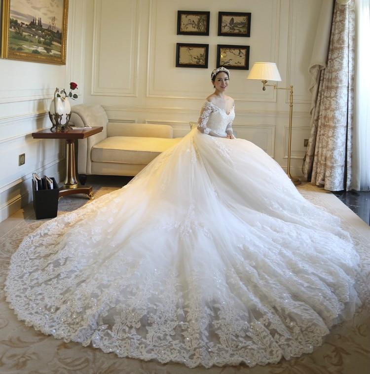 2019 Robe De Mariage Shining Bridal Gown Top Quality Luxurious Lace Wedding  Dress Cathedral Train Vestido De Noiva cc3dd25f0f08