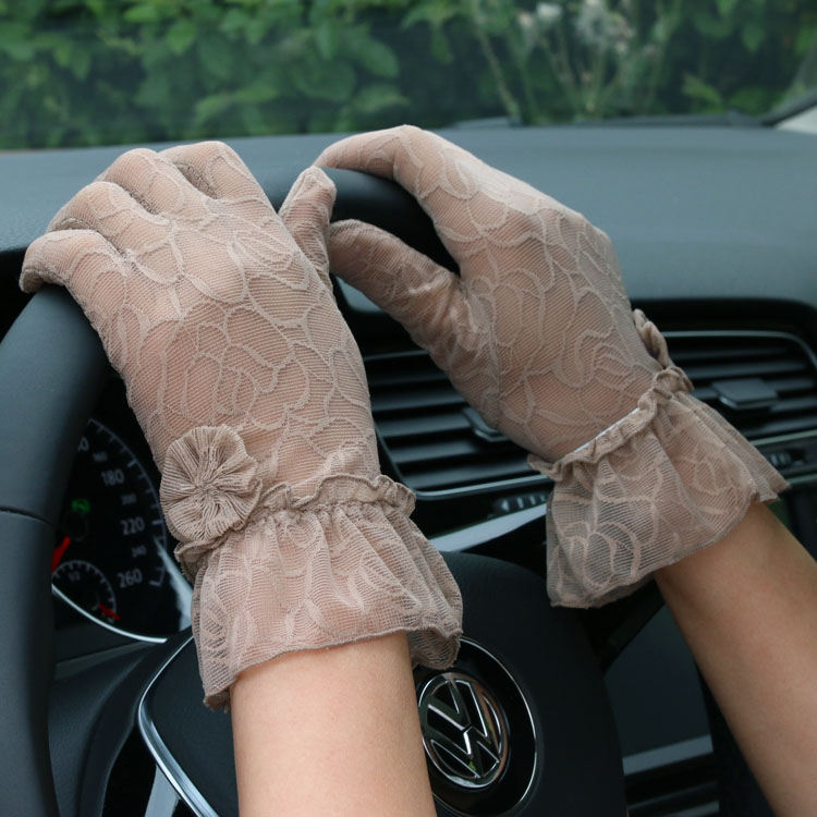 Women's Summer Full Lace Gloves Ultra-thin Summer Anti-uv Sunscreen Gloves Female Short Design Sexy Lace Driving Gloves R2061