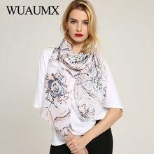 Wuaumx Spring Scarf Women Floral Pattern Elegant Scarfs Wraps Ladies Scarves Long Shawl foulard femme Hijab sjaals voor dames