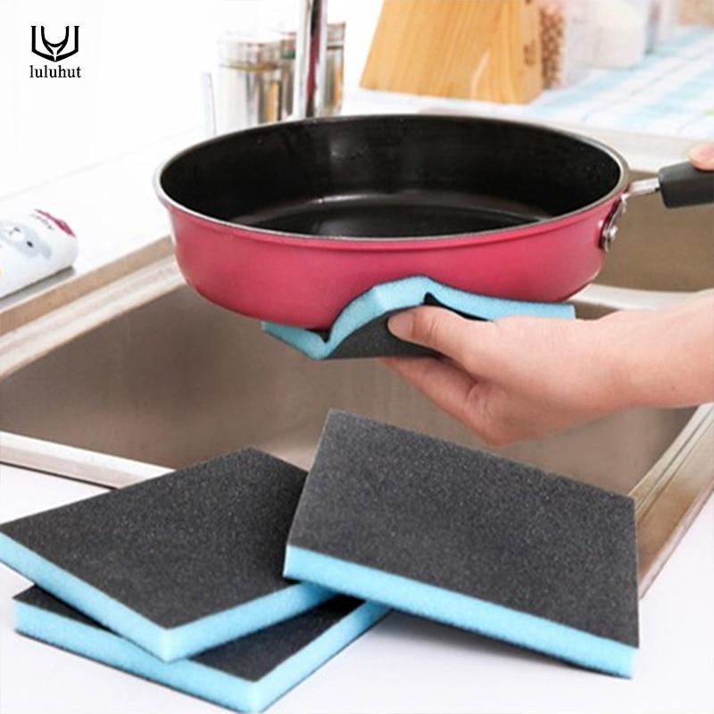 5pcs set emery cleaning sponge kitchen pots clean brush rust remove sponge kitchen cleaning tools handle pan sponge