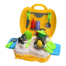 26pcs Portable Simulation Kitchen Cooking Cosplay Tool Kit Kids Role Play Toy Box