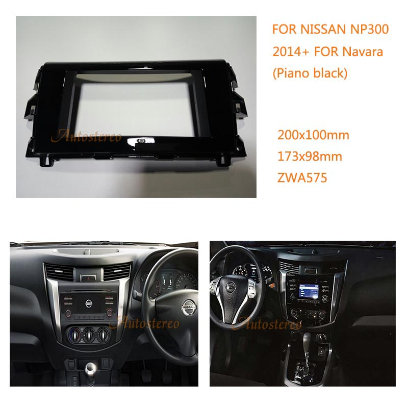 ZW11-575 2 din car stereo installation kit for NISSAN NP300, Navara 2014+ Piano black Car Radio fascia Refitting Outter Frame 2 din car stereo audio refitting iso 2din installation metal cage with brackets screws keys