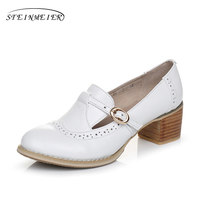 Genuine Leather Big Woman Shoes US Size 9 Designer Vintage High Heels Round Toe Handmade White