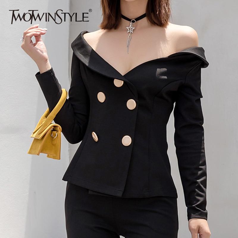 TWOTWINSTYLE Slash Neck Blazer Female Off Shoulder Long Sleeve Double Breasted Slim Black Coat Women Fashion 2019 Sexy Clothing