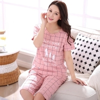 Women Pajamas Set 100 Cotton Pajamas Plaid Pajamas Spring And Summer Female Short Sleeve Sleepwear Lovely