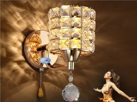 AC85 265V Pull Chain Switch Crystal Wall Lamp Lights Modern Zipper Stainless Steel Base Lighting Wall