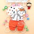 Na Venda de 30% off 2016 Verão novo conjunto de roupas de Bebê com dot olá kitty personagem impressão A238