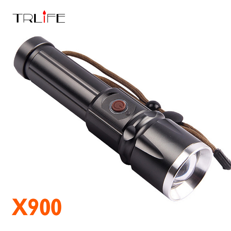TRLIFE Lanterna X900 CREE XM-L2 LED Tactical Flashlight Torch Zoom Lamp Light For 26650 or 18650 Battery cree xm l t6 bicycle light 6000lumens bike light 7modes torch zoomable led flashlight 18650 battery charger bicycle clip