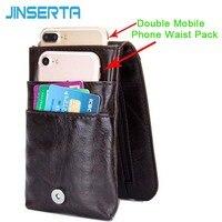 JINSERTA Doppel Handy Pack Echtes Leder Tasche mit Gürtel Clip Karte slot Beutel für iPhone 8 5 ''telefon