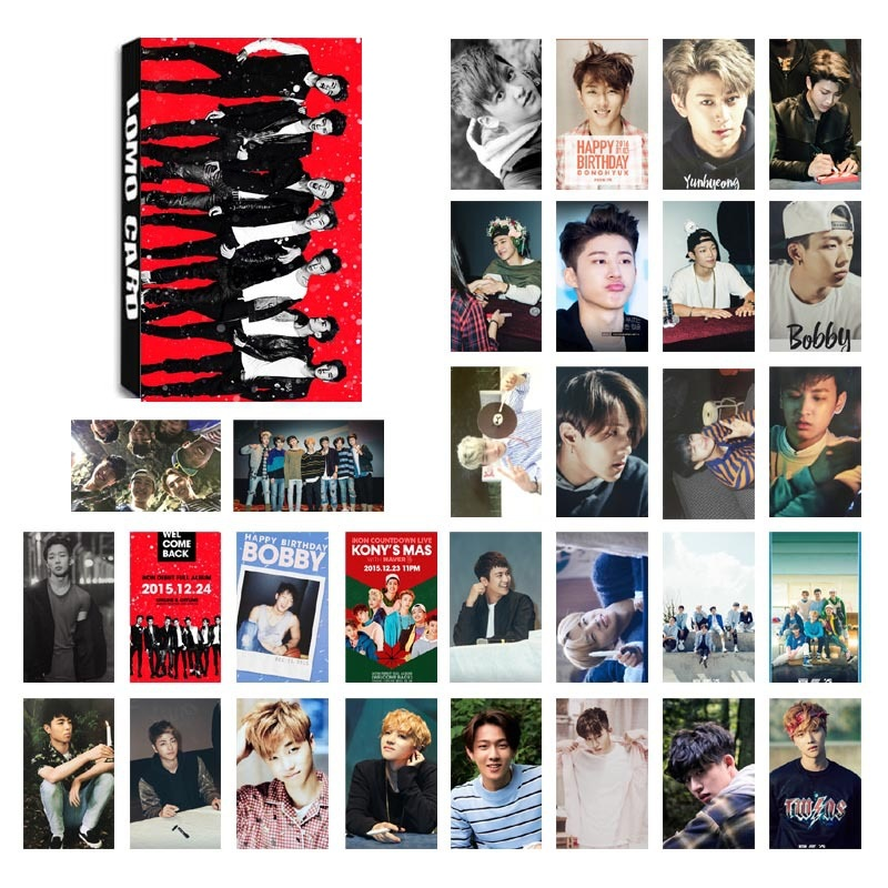 New 30Pcs/Set Kpop IKON Mini Album Photo Cards DIY Lomo Card Postcard Kawaii Stationery Gift