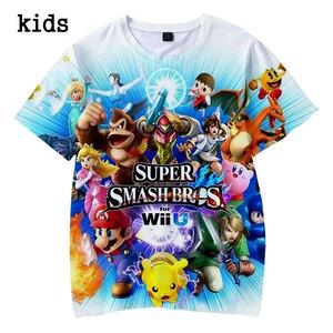 Детская футболка с 3D-принтом Super Smash Bros, Япония, лето 2019, одежда для мальчиков и девочек 4, 5, 6, 7, 8, 9, 10, 12 лет