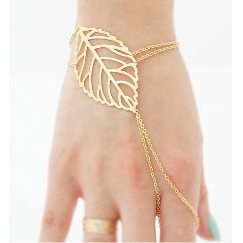 821 Hollow Leaves <font><b>Bracelet</b></font> Bangels With Finger <font><b>Ring</b></font> Slave <font><b>Chain</b></font> <font><b>Hand</b></font> Harness For Women B1842 image