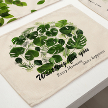 42x32cm Green Leaves Pattern Cotton Linen Western Pad Placemat Insulation Dining Table Mat Bowls Coasters Kitchen Accessories