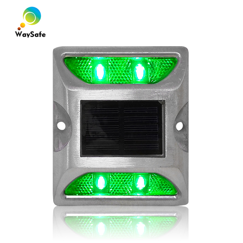 New Square Design Green LED Flashing Light Solar Power Driveway Road Stud Reflector Marker