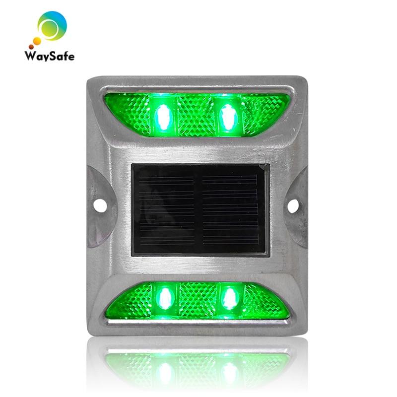 New Square Design Green LED Flashing Light Solar Power Driveway Road Stud Reflector Marker
