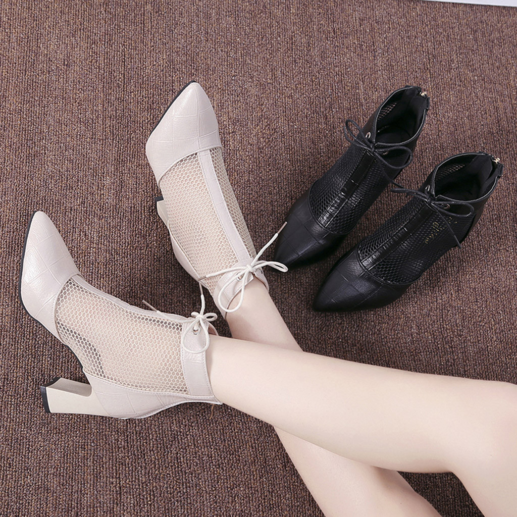 96a890447e7 US $15.13 40% OFF|Mesh Clear High Heels Shoes For Women Breathable Lace Up  Ladies Fashion Hollow Out Causal Pointed Toe Single Work Sandals-in High ...