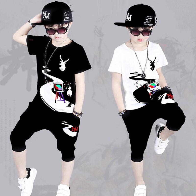Nouveau enfants Hip Hop vêtements 4-12y garçons vêtements Enfant t-shirt + harem pantalon mode garçon vêtements Cool sport costume enfants survêtements
